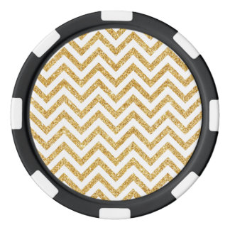 White Gold Glitter Zigzag Stripes Chevron Pattern Poker Chips Set
