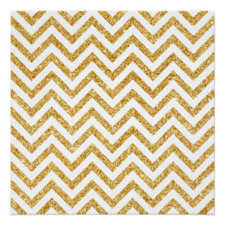 White Gold Glitter Zigzag Stripes Chevron Pattern Poster