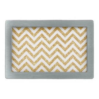 White Gold Glitter Zigzag Stripes Chevron Pattern Rectangular Belt Buckles