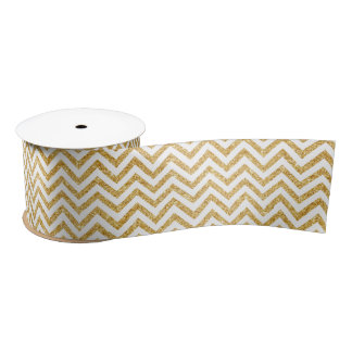 White Gold Glitter Zigzag Stripes Chevron Pattern Satin Ribbon