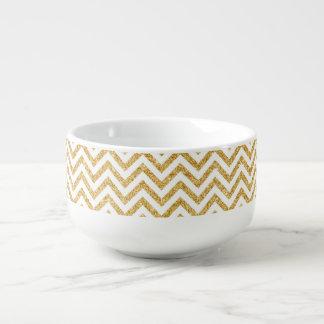 White Gold Glitter Zigzag Stripes Chevron Pattern Soup Mug