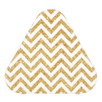 White Gold Glitter Zigzag Stripes Chevron Pattern Speaker