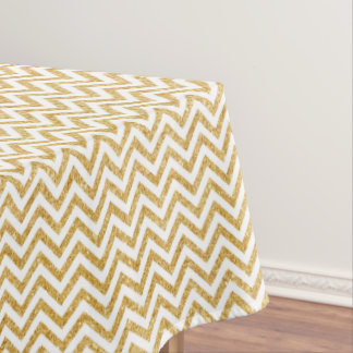 White Gold Glitter Zigzag Stripes Chevron Pattern Tablecloth