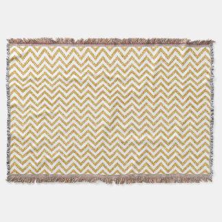 White Gold Glitter Zigzag Stripes Chevron Pattern Throw