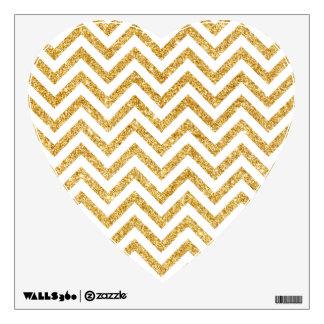 White Gold Glitter Zigzag Stripes Chevron Pattern Wall Decal