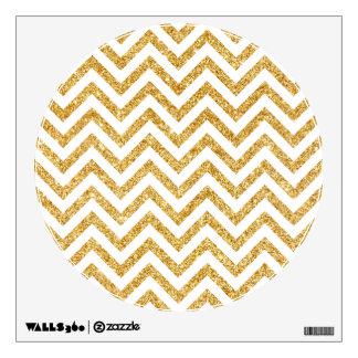 White Gold Glitter Zigzag Stripes Chevron Pattern Wall Sticker