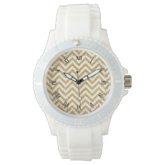 White Gold Glitter Zigzag Stripes Chevron Pattern Watches