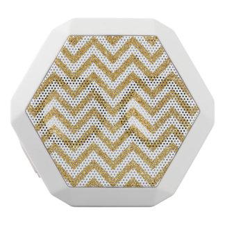 White Gold Glitter Zigzag Stripes Chevron Pattern White Bluetooth Speaker