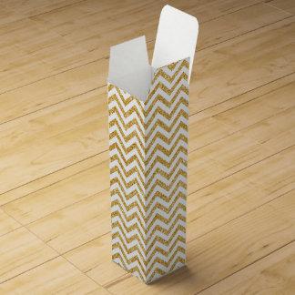 White Gold Glitter Zigzag Stripes Chevron Pattern Wine Box