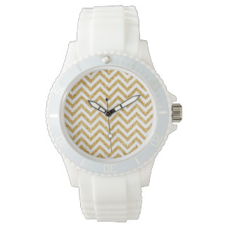 White Gold Glitter Zigzag Stripes Chevron Pattern Wrist Watches