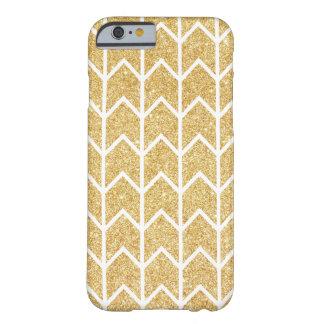 White Gold Glitter Zigzag Unique Chevron Pattern Barely There iPhone 6 Case