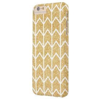 White Gold Glitter Zigzag Unique Chevron Pattern Barely There iPhone 6 Plus Case