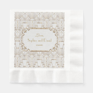 White Gold Great Gatsby Art Deco 1920s Wedding Disposable Napkins