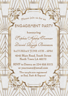 Great Gatsby Themed Engagement Party Invitations