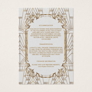 White Gold Great Gatsby Art Deco Wedding Details Business Card