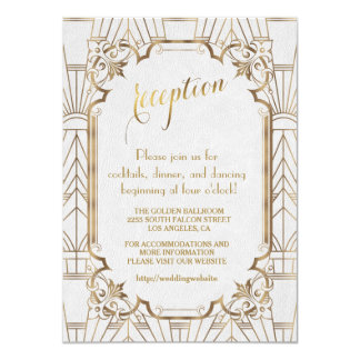 White Gold Great Gatsby Art Deco Wedding Reception Card