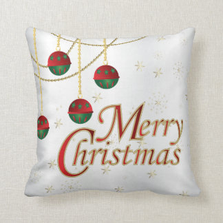 White, Gold, Green and Red Merry Christmas Throw Pillow