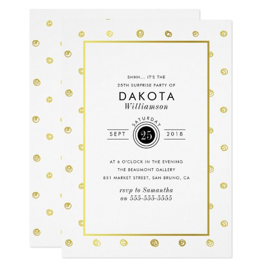 White & Gold Hand-drawn Polka Dots Surprise Party Card