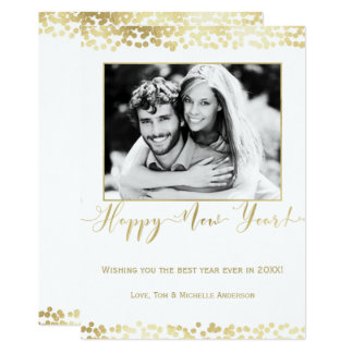 White & Gold Happy New Year Modern Chic Photo Card