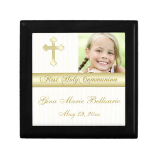 White, Gold Holy Communion Keepsake Jewelry Box
