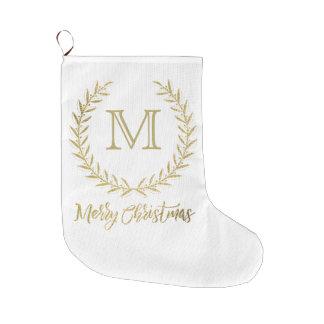 White & Gold Leaf Monogram Merry Christmas Large Christmas Stocking