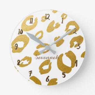 White & Gold Leopard Cheetah Glam Personalized Round Clock