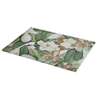 White Gold Magnolia Flowers Floral Cutting Board