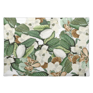 White Gold Magnolia Flowers Floral Placemat