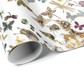 White Gold Meadow Butterfly Insects Gems Marble Wrapping Paper