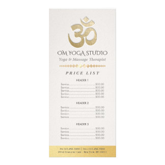 White & Gold OM Symbol YOGA Instructor Price List Rack Card