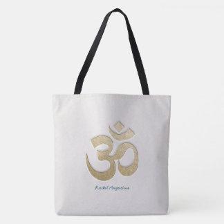 White & Gold OM Symbol Yoga Mediation instructor Tote Bag