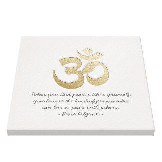 White & Gold OM Symbol YOGA Meditation Instructor Canvas Print