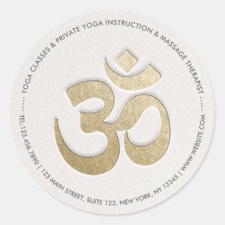 White & Gold OM Symbol YOGA Meditation Instructor Classic Round Sticker