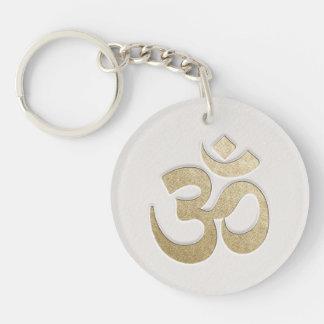 White & Gold OM Symbol YOGA Meditation Instructor Keychain
