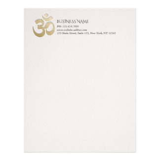 White & Gold OM Symbol YOGA Meditation Instructor Letterhead