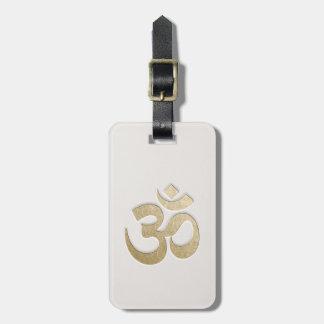 White & Gold OM Symbol YOGA Meditation Instructor Luggage Tag