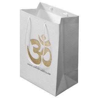 White & Gold OM Symbol YOGA Meditation Instructor Medium Gift Bag