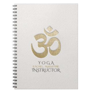 White & Gold OM Symbol YOGA Meditation Instructor Notebooks