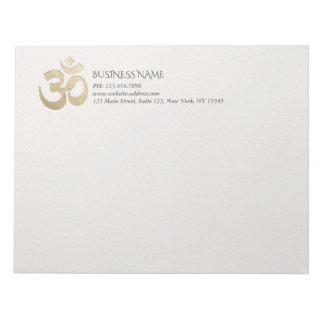 White & Gold OM Symbol YOGA Meditation Instructor Notepad