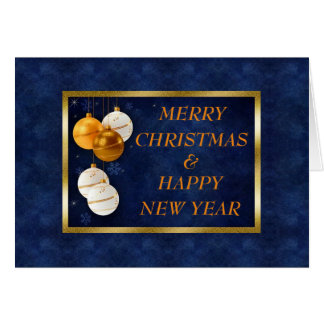 White & Gold Ornaments on Blue Christmas Card