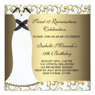 White Gold Party Dress Sweet 15 Quinceanera Personalized Invitations