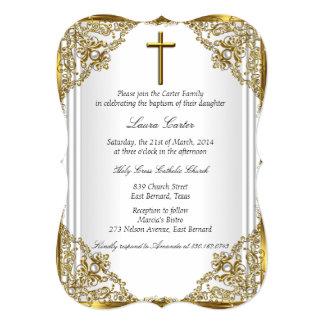 "White Gold Pearl Damask Cross Baptism Christening 5"" X 7"" Invitation Card"