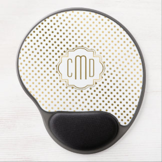White & Gold Polka Dots Pattern Gel Mouse Pad