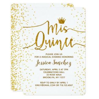 White & Gold Quinceañera Invitations Mis Quince