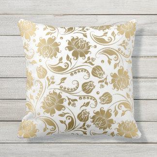White & Gold Reversible Floral Vintage Pattern Throw Pillow