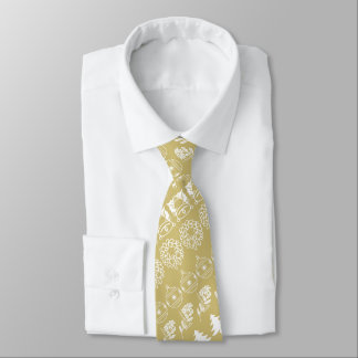 White/Gold Rows Christmas Font Art Pattern Tie