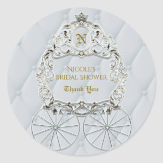 White & Gold Royal Crown Carriage Cinderella Favor Classic Round Sticker
