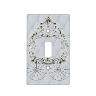 White & Gold Royal Crown Fairytale Carriage Light Switch Cover