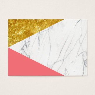White Gold Salmon Marble Business Card