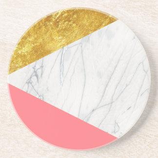 White Gold Salmon Marble Coaster
